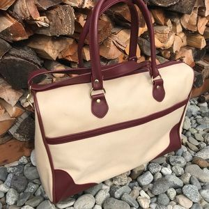 Vintage Travel Bag Shoulder Strap Zip Weekender
